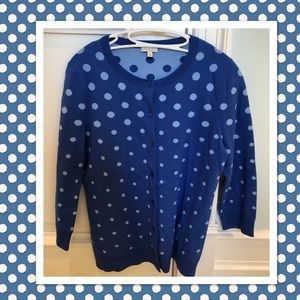 Talbots polka dot cardigan-pretty shades of blue.